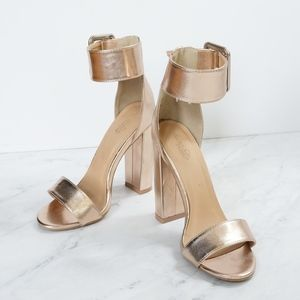 Rose Gold Metallic Heels with Ankle Strap size 6